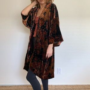 Free People boho printed velvet kimono